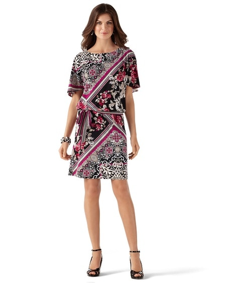Blouson Mixed Scarf Print Dress