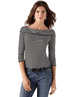 3/4-Sleeve Off The Shoulder Stripe Top