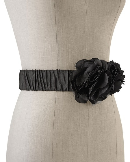 Black Double-Flower Stretch Belt