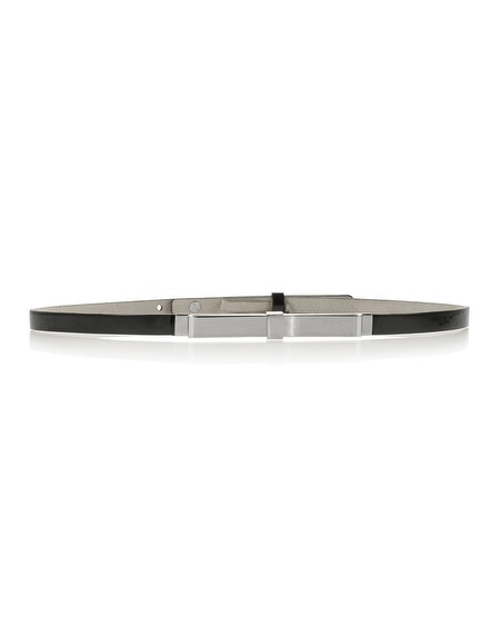 Black Patent Skinny Metal Bow Belt