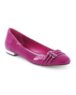 Berry Triple-Strap Leather Flat