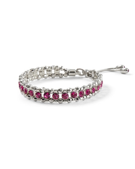 Silvertone/Berry Friendship Stretch Bracelet