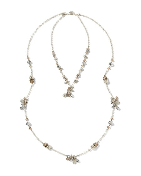 Silvertone Filigree High/Low Convertible Necklace