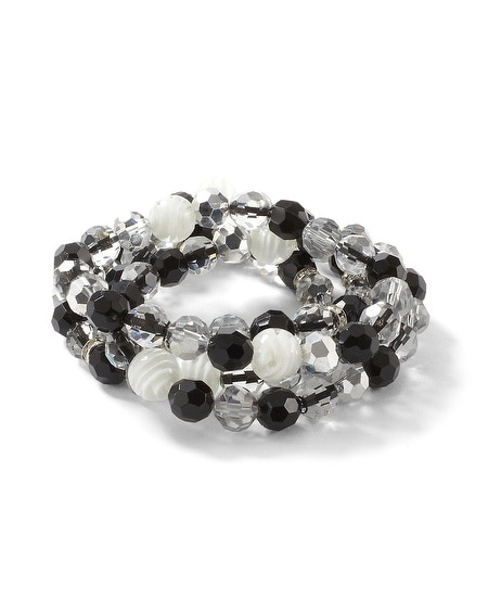 Black/White Bead Stretch Bracelet Set