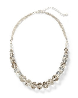 Short Gray Faceted Necklace