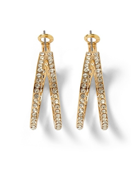 Goldtone Pave Crystal Double Hoop