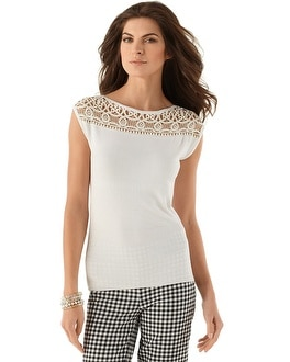 Lace Bateau Neck Sweater