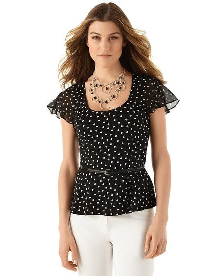Flutter Sleeve Dot Peplum Top