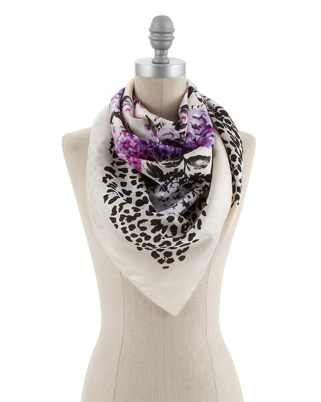 Animal/Floral Print Square Scarf