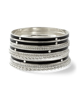 Black Enamel/Silvertone Bangle Set