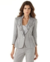 Ruffle-Lapel Gray Suit Jacket