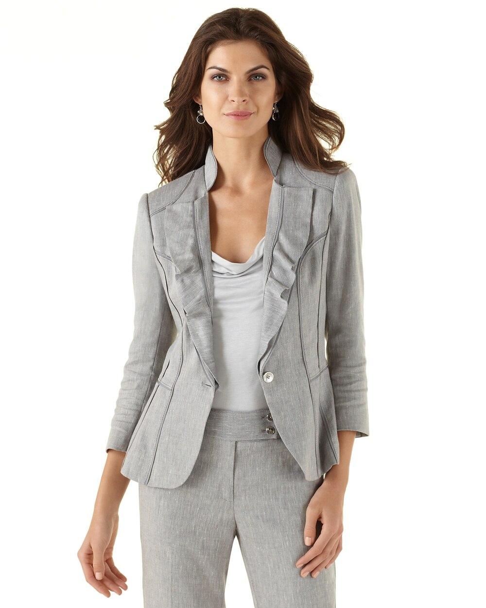 Ruffle Lapel Gray Suit Jacket White House Black Market