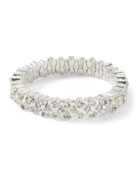 Silvertone Crystal Stretch Bracelet