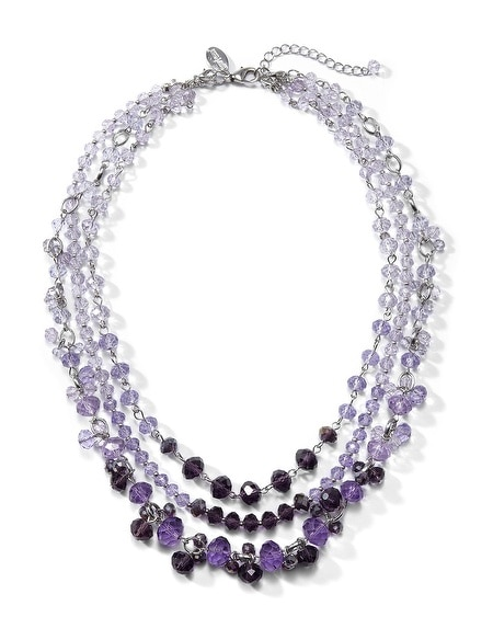 Convertible Silvertone Iris Crystal Necklace
