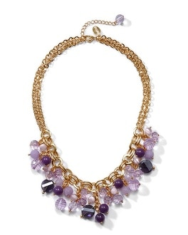 Short Goldtone Lilac/Iris Bauble Necklace