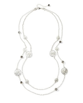Long Silvertone Rose Motif Convertible Necklace
