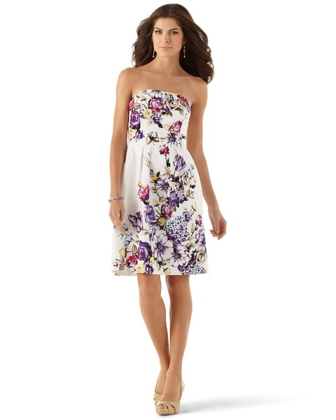 Strapless Cotton Floral Dress - White House Black Market