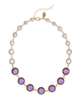 Short Goldtone Lilac/Iris Necklace