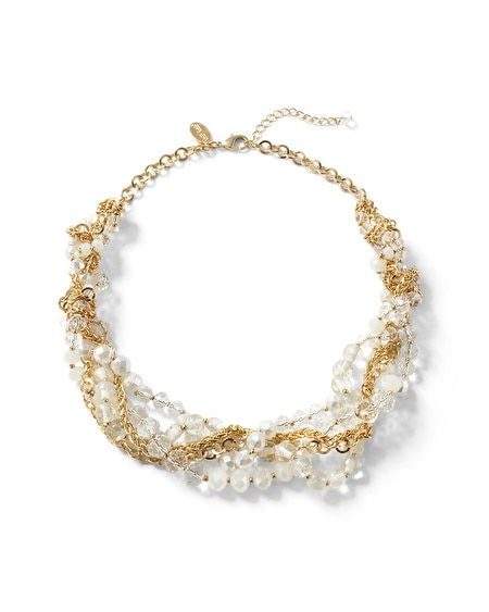 Goldtone Pearlized Crystal Torsade Necklace