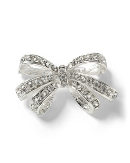 Silvertone Crystal Bow Pin