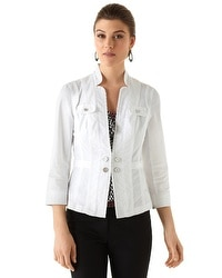 White Peplum Twill Jacket