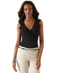 Sleeveless Ruffled Surplice Top