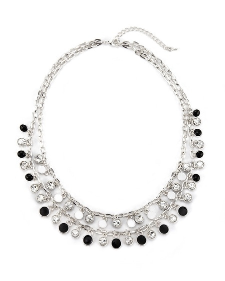 Short Black/White Enamel Necklace