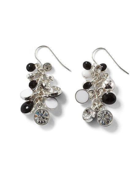 Black/White Enamel Bauble  Earring