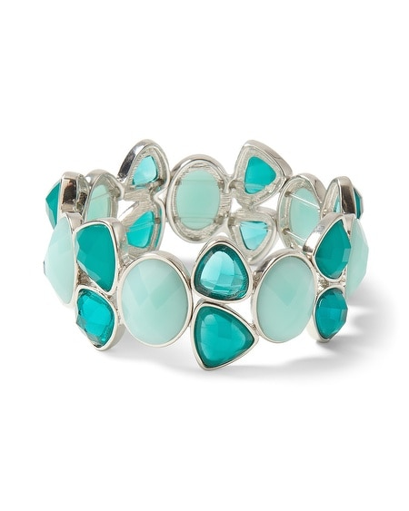 Silvertone Sea Glass/Lagoon Stretch Bracelet