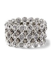 Wide Silvertone/Crystal Stretch Bracelet