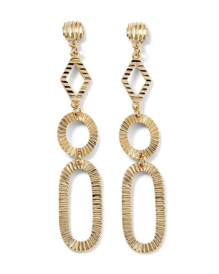 Goldtone Textured Drop Earring