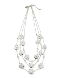 Silvertone Cutout Multi-Strand Necklace