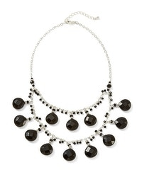 Silvertone Faceted Jet Drop Necklace