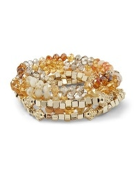 Goldtone/Orange Stretch Bracelet Set