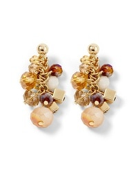 Goldtone/Orange Cube Cluster Earring