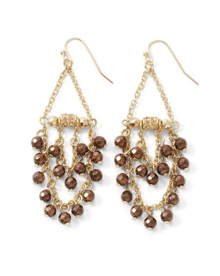 Chocolate Bead Chandelier Earring