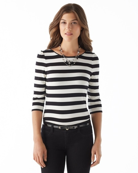 Stripe Scoop-Back Tee