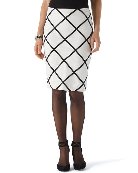 Graphic Ponte Pencil Skirt