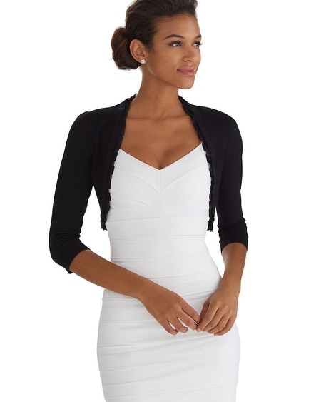 3/4 Sleeve Black Ruffle Shrug