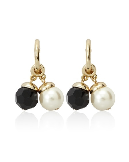 Goldtone Jet/Glass Pearl Convertible Hoop Earring