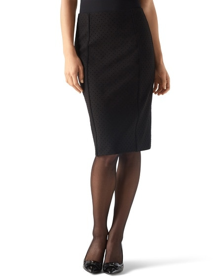 Dot Knit Pencil Skirt