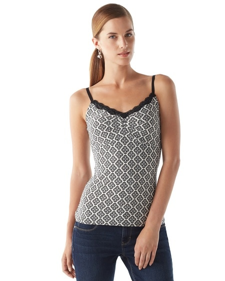 Lace-Trimmed Geo Cami