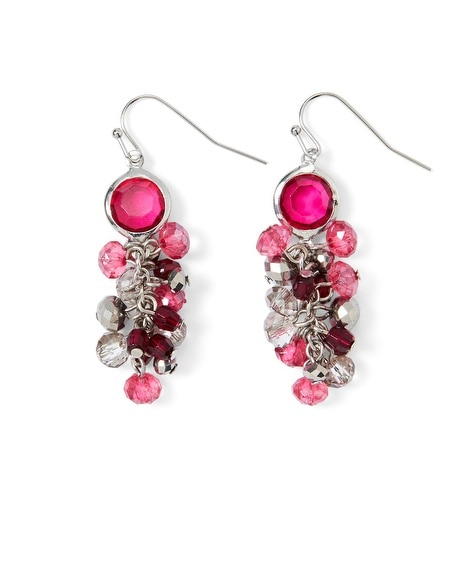 Pink/Gray Crystal Bauble Earring