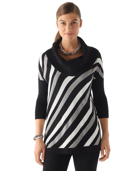 Cowlneck Diagonal Stripe Tunic