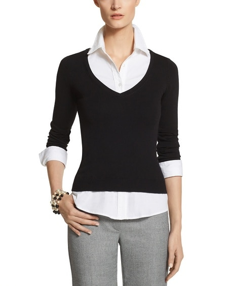 Woven Trim Sweater