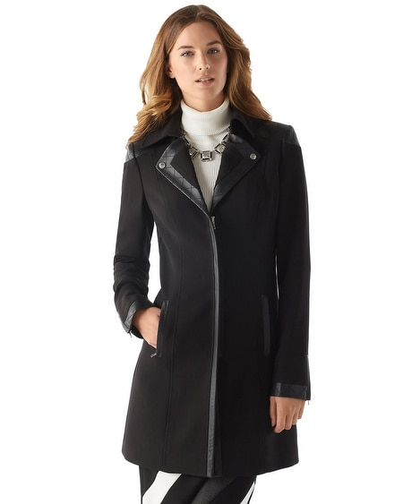 Leather Trim Moto Coat