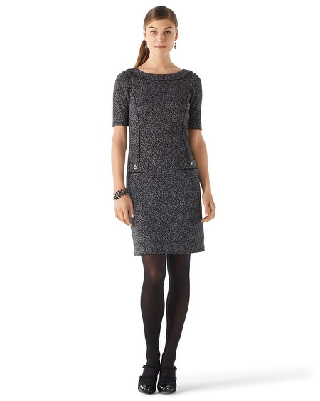 Tweed Jacquard Knit Shift