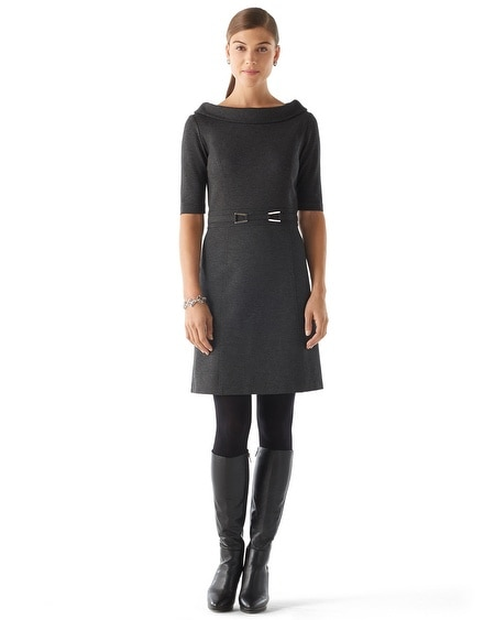 Rolled Collar Ponte Dress