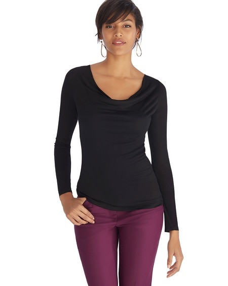 Draped Neck Long Sleeve Top