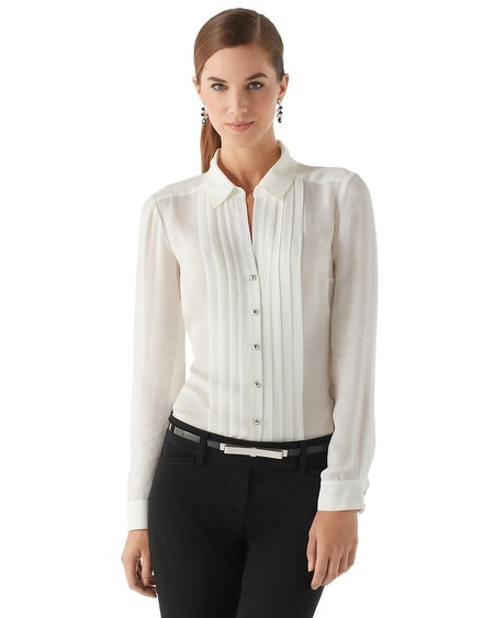 Silk Tuxedo Pleat Blouse